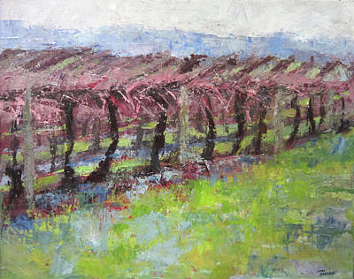 Painting - Colorful Abscract Vineyard by Anna Barnhart