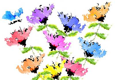 Painting - Colorful Abstract Flowers by Steven Clarke