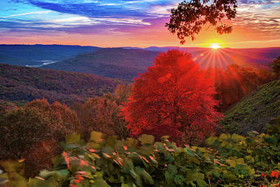 Photograph - Colorful Autumn Sunrise At Artist Point - Arkansas Boston Mountains by Gregory Ballos