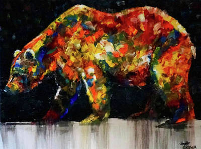 Painting - Colorful Bear Painting Night Stroll by Jennifer Morrison Godshalk