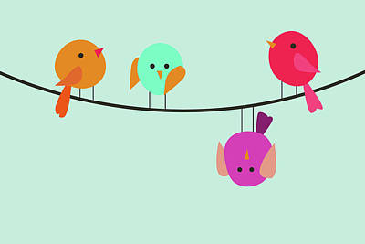 Digital Art - Colorful birds on wire by Mihaela Pater