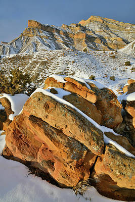 Photograph - Colorful Boulders Beneath Snowy Book Cliffs by Ray Mathis