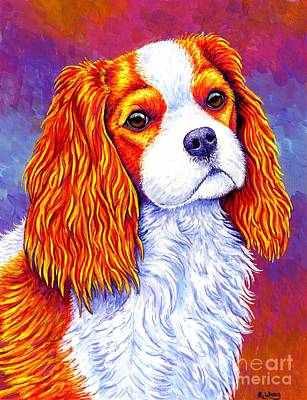 Painting - Colorful Cavalier King Charles Spaniel Dog by Rebecca Wang
