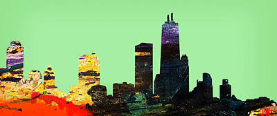 Abstract Skyline Mixed Media - Colorful Chicago Skyline by Marilyn Hunt