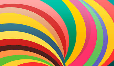 Colorful Circles, Rainbow Print, Oval Shape Original
