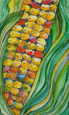 Vincent Van Gogh - Colorful Corn Kernals by Joan Utley