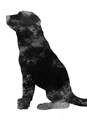 Painting - Colorful Dog Poster Labrador Silhouette Illustration Domestic Animal Watercolor Painting by Joanna Szmerdt