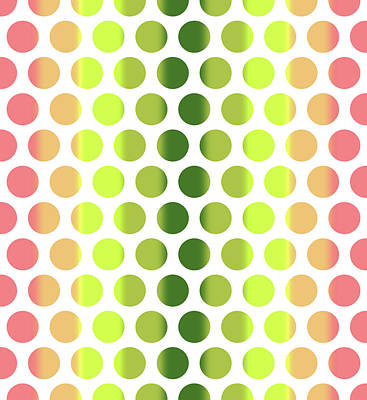 Mixed Media - Colorful Dots Pattern - Polka Dots - Pattern Design 2 - Pink, Yellow, Green, Peach by Studio Grafiikka