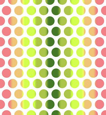 Mixed Media Royalty Free Images - Colorful Dots Pattern - Polka Dots - Pattern Design 2 - Pink, Yellow, Green, Peach Royalty-Free Image by Studio Grafiikka