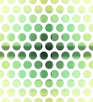 Mixed Media Royalty Free Images - Colorful Dots Pattern - Polka Dots - Pattern Design 6 - Cream, Aqua, Teal, Olive, Green Royalty-Free Image by Studio Grafiikka