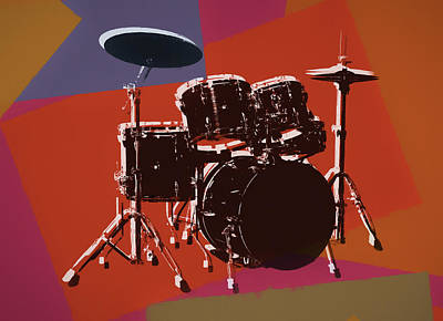 Music Mixed Media - Colorful Drum Set Pop Art by Dan Sproul