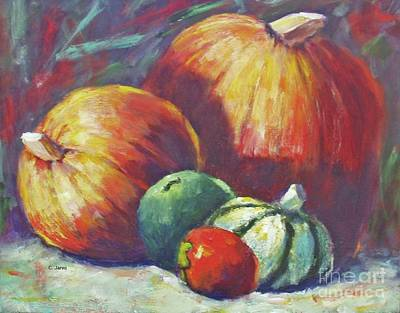 Painting - Colorful Fall Pumpkins by Carolyn Jarvis