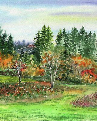 Painting - Colorful Fall Watercolor Landscape by Irina Sztukowski