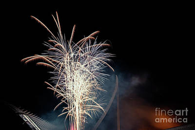 Railroad - Colorful fireworks over the night city, free black space for text. by Joaquin Corbalan