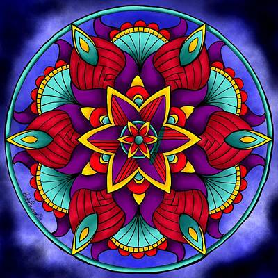 Digital Art - Colorful Flower Mandala by Becky Herrera