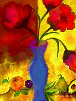 All American - Colorful Flowers and Fruit Abstract by Laurie