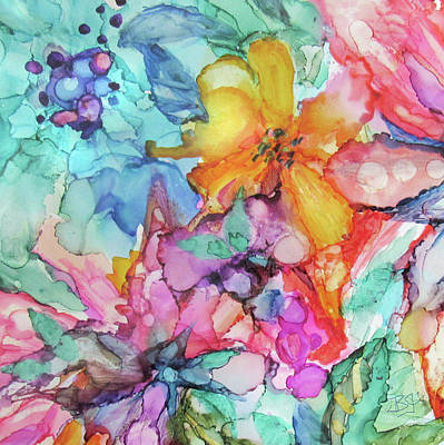 Painting - Colorful Flowers by Jean Batzell Fitzgerald