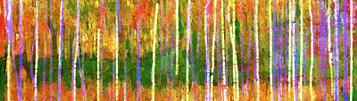 Digital Art - Colorful Forest Abstract by Menega Sabidussi