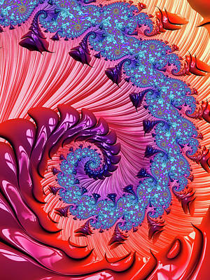 Digital Art - Colorful Fractal Spiral Red And Blue by Matthias Hauser