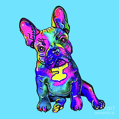 Mixed Media - Colorful French Bulldog On Blue by Zaira Dzhaubaeva