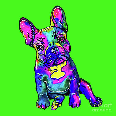 Mixed Media - Colorful French Bulldog On Green by Zaira Dzhaubaeva