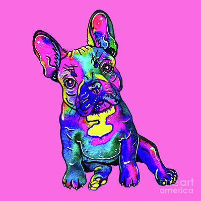 Mixed Media - Colorful French Bulldog On Pink by Zaira Dzhaubaeva