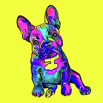 Mixed Media - Colorful French Bulldog On Yellow by Zaira Dzhaubaeva