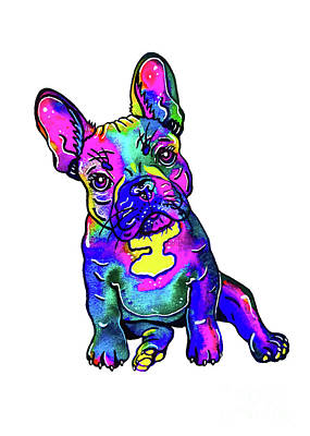 Mixed Media - Colorful French Bulldog  by Zaira Dzhaubaeva
