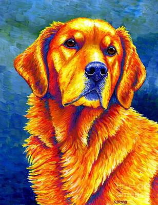 Painting - Colorful Golden Retriever Dog by Rebecca Wang