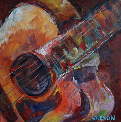 Painting - Colorful Guitar by Susan Carson