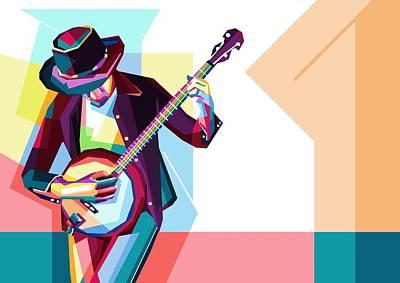 Banjo Wall Art - Digital Art - Colorful Guitarist by ArtMarketJapan