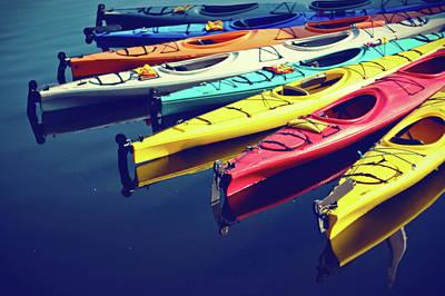 Colorful Kayaks Art Print by Kyle Igarashi