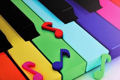 Keyboard Wall Art - Digital Art - Colorful Keyboard by ArtMarketJapan