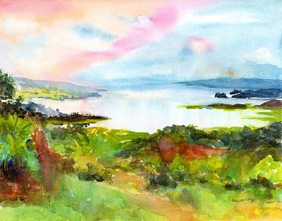 Painting - Colorful Lake Landscape - Arenal Costa Rica by CarlinArt Watercolor