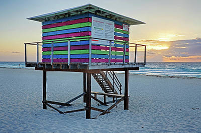 Photograph - Colorful Lifeguard House On Cancun Beach At Sunrise Playa Cancun Mexico Mx by Toby McGuire