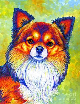Painting - Colorful Long Haired Chihuahua Dog by Rebecca Wang