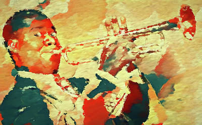 Painting - Colorful Louis Armstrong by Dan Sproul