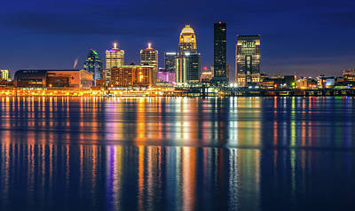 Photograph - Colorful Louisville Skyline Reflection At Night by Dan Sproul