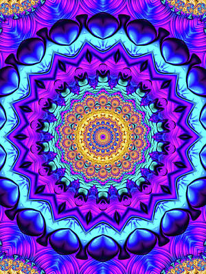 Royalty-Free and Rights-Managed Images - Colorful Mandala Kaleidoscope purple blue orange by Matthias Hauser