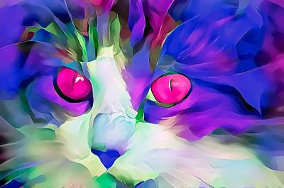 Surrealism Royalty-Free and Rights-Managed Images - Colorful Masters Purple Glow Kitten by Don Northup