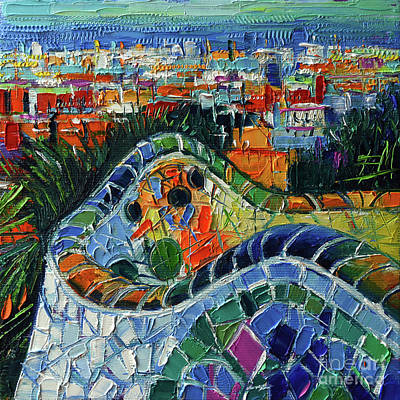 Antoni Gaudi Wall Art - Painting - Colorful Mosaic Park Guell Barcelona Impasto Palette Knife Stylized Cityscape by Mona Edulesco
