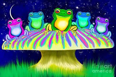 Digital Art - Colorful Mushroom Frogs by Nick Gustafson