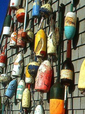 Painting - Colorful New England Buoys - Drawing Illustration by Peter Potter