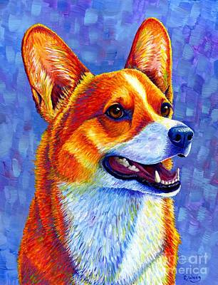 Painting - Colorful Pembroke Welsh Corgi Dog by Rebecca Wang