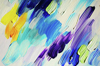 Photograph - Colorful Rain Fragment 1. Abstract Painting by Jenny Rainbow