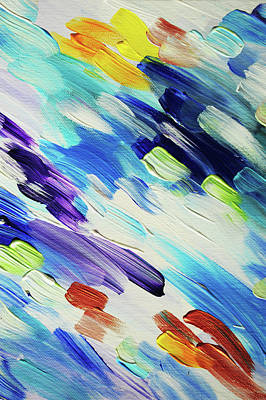 Photograph - Colorful Rain Fragment 6. Abstract Painting by Jenny Rainbow