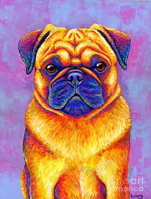 Painting - Colorful Rainbow Pug Dog Portrait by Rebecca Wang