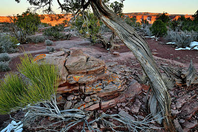 Photograph - Colorful Rock Pile At Green River Overlook At Sunset by Ray Mathis
