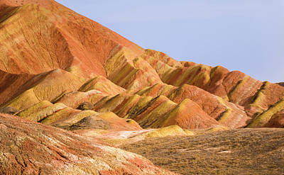 Photograph - Colorful Screen Rainbow Mountains Zhangye Gansu China by Adam Rainoff