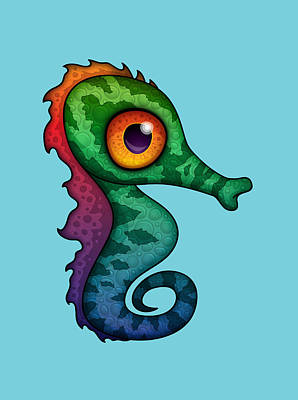 Royalty-Free and Rights-Managed Images - Colorful Seahorse Cartoon by John Schwegel
